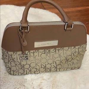 Calvin Klein brown and taupe handbag